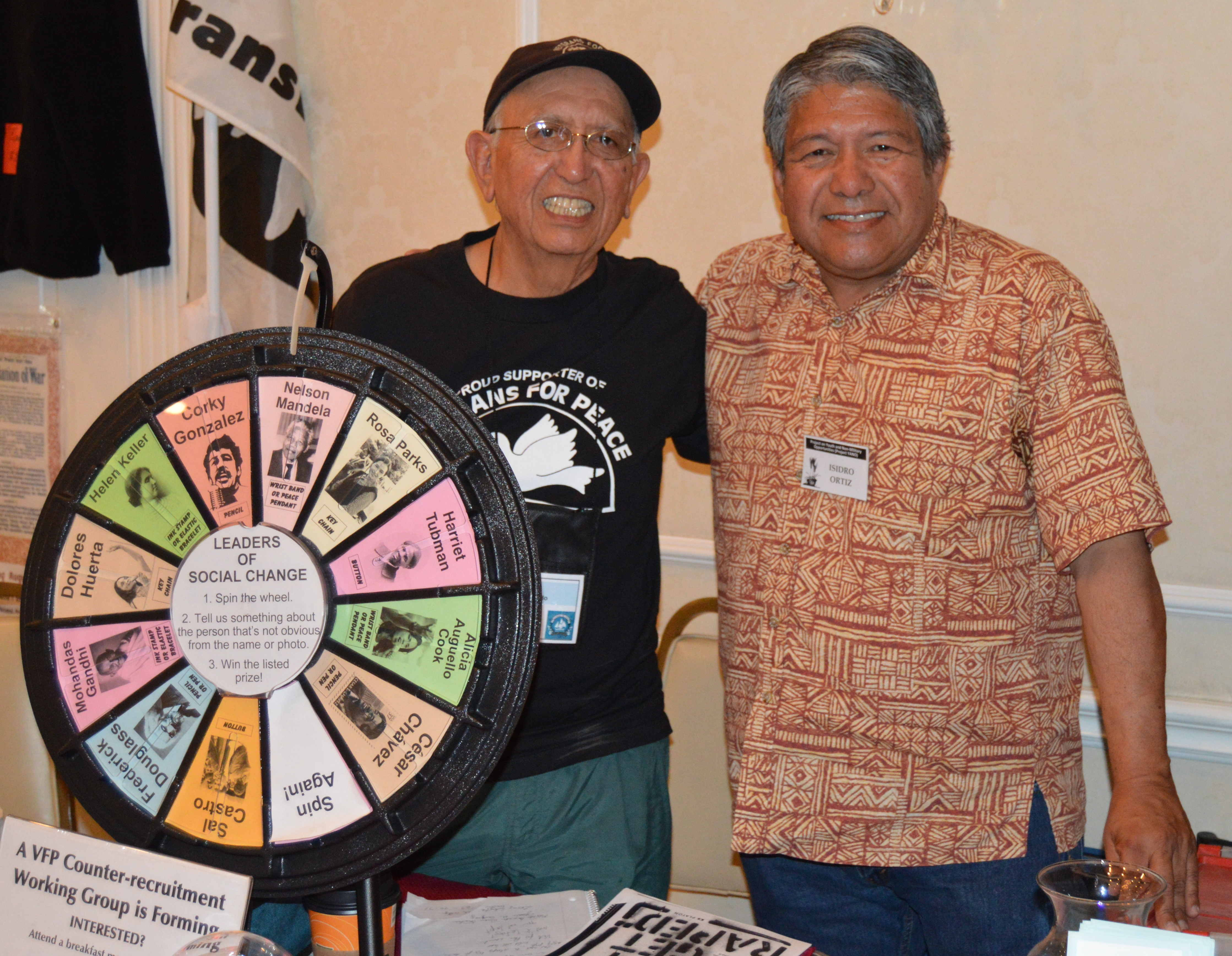 Gilberto (left) with Isidro Ortiz at the Veterans For Peace convention, San Diego, CA, August 8, 2015. Photo: Project YANO.